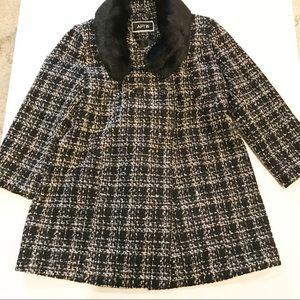Apt. 9 Wool Blend & Fur Pea Coat